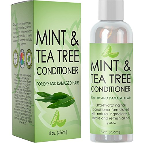 (Hydrating Conditioner Mint & Tea Tree Oil For Dry and Damaged Hair With Nutrient Rich Jojoba Tea Tree Lavender for Moisturized Shiny Strong & Rejuvenated Hair for Women Men Teens by Honeydew 8 oz)