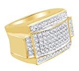 Round Shape White Cubic Zirconia Hip Hop Band Ring In 14k Yellow Gold Over Sterling Silver Ring Size-4