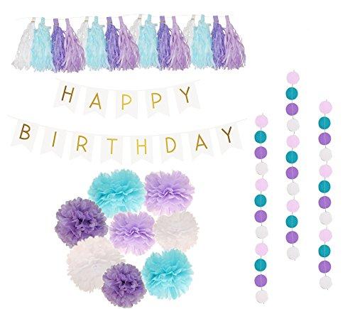 PoshPeanut Happy Birthday Decoration Tissue Paper Tassel Polka Dot for Girl Party Decorations First Birthday Circle Garland 26 Pieces Purple, White, Aqua