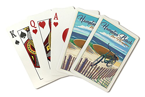 Hampton Beach, New Hampshire - Beach Cruiser and Surfboard on Beach (Playing Card Deck - 52 Card Poker Size with Jokers) by Lantern Press