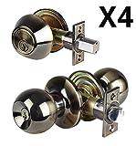 Set of 4 Combo Entry Lock Set Door Knob & Deadbolt Keyed Alike Keyway: SC1 (Antique Brass)