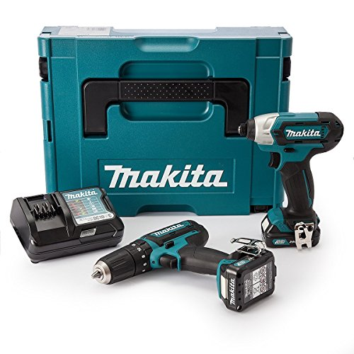 Makita CLX202AJ 10.8 V CXT Combi and Impact Driver with 2 x 2.0Ah batteries...