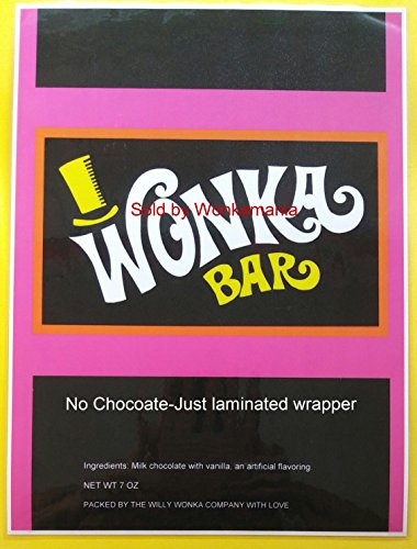 Replica-Laminated 7 oz. Willy Wonka Wrapper (only)-Golden Ticket Sold separate. (Willy Wonka And The Chocolate Factory Candy)