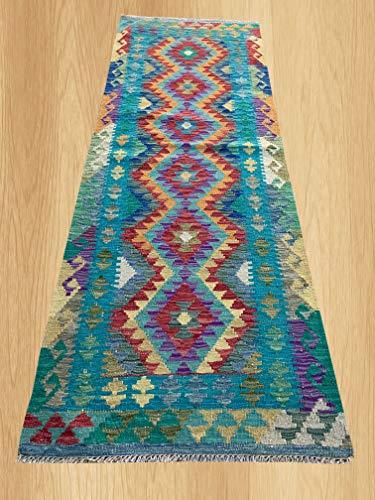 (Multi Color Hand Knotted Flat Weave Home Decor Oriental Afghan Veg Dyed Chobi Kilim Wool Area Geometric Runner Rug 6'7
