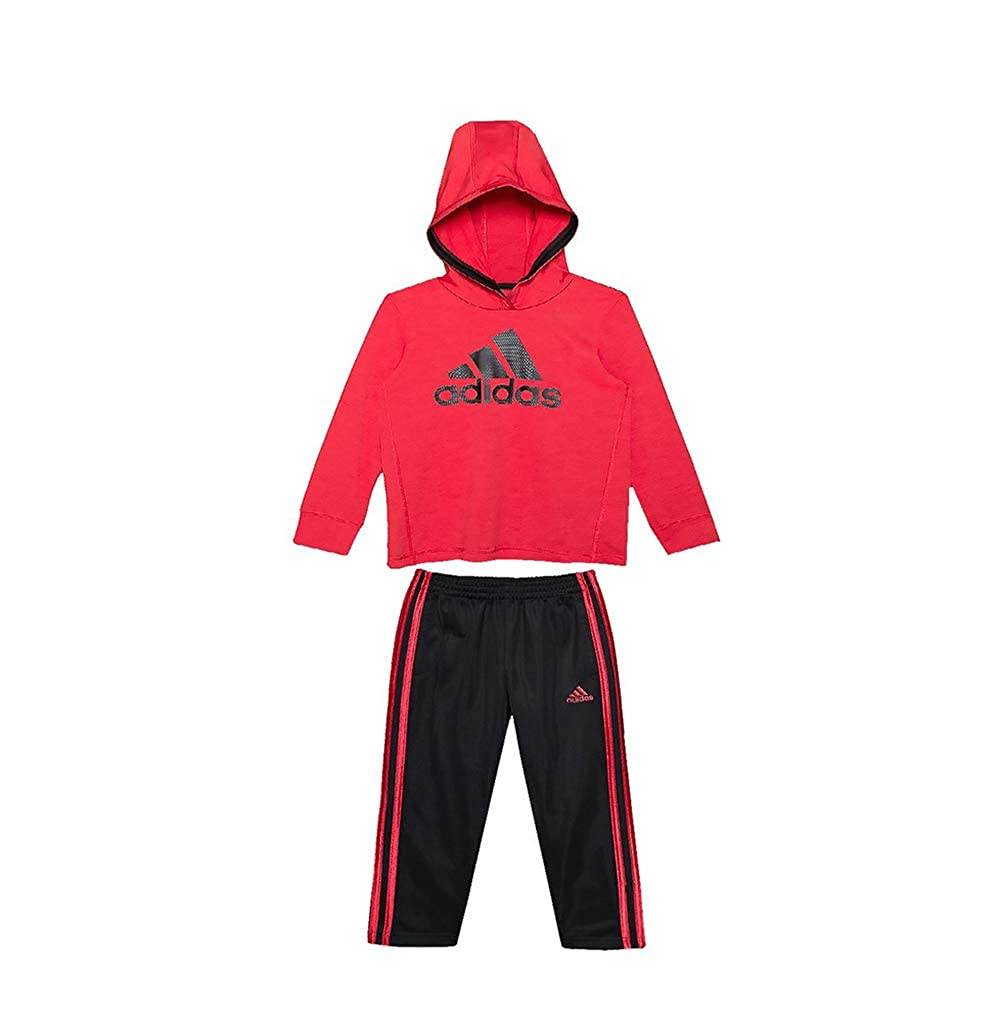Red//Black adidas Toddler Boys Poly Melange Jersey Tricot Hoodie and Pants Set 4T