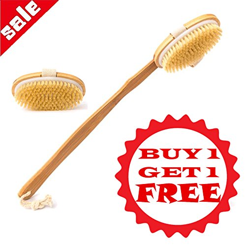 Donyer Power Wooden Shower Body Brush 100% Natural Boar Bristles with Boar Bristle Made with Detachable Hand Grip Handle, Wet or Dry body Brushing, BUY ONE GET ONE FREE (Detachable Brush)