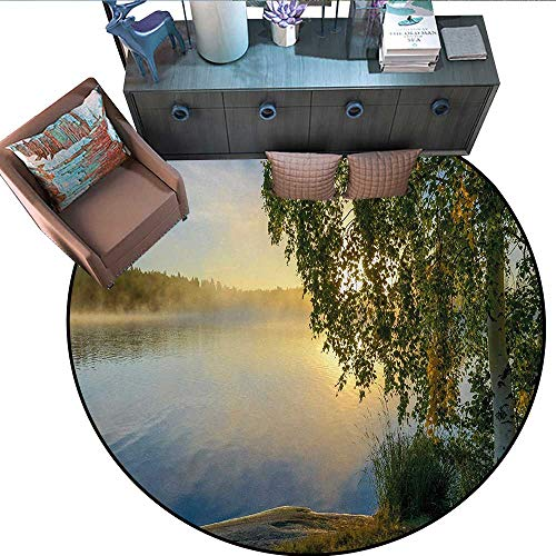 Nature Round Rug Kid Carpet Sunny Day by Misty Lake with Tre