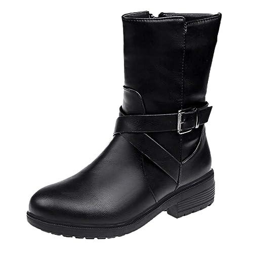 Botines Para Mujer,Beikoard 2018 Mujeres De Tacón Cuadrado Hebilla Correa Botas De Cuero Botas Zapatos Redondo Toe Boot,Botas De Tacón Grueso De Cuero: ...