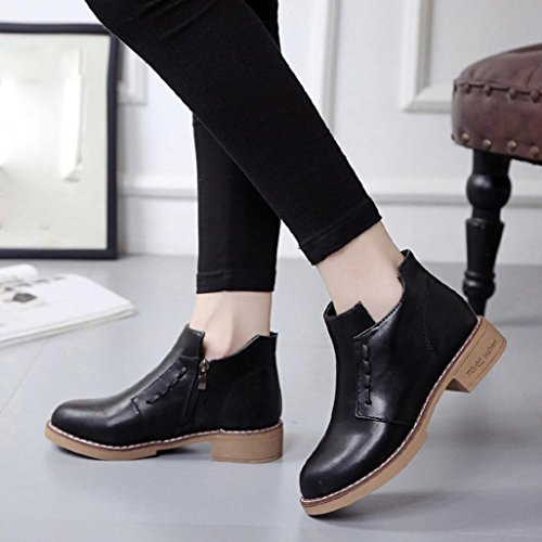 Transer Ladies Low Heel Martin Boots, Women Soft Boots Winter Shoes Ankle Black