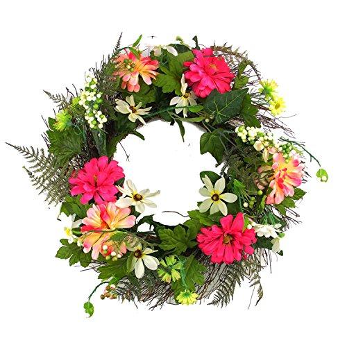 Darice Decorative Silk Zinnia Daisy Flower Artificial Spring Floral Wreath, 22
