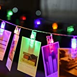 LED Photo Clip String Lights, ONEVER 3m / 9.8ft 20-LEDs Colorful String Lights Perfect for Hanging Photos Pictures Paintings Card Wedding Party Home Decoration