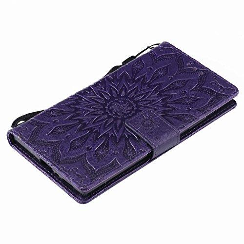 Laybomo Sony Xperia L2 Ledertasche Schuzhülle Weiches TPU Silikon Cover Magnetisch Stehen Brieftasche Schale Handyhülle für Sony Xperia L2 mit Kartensteckplatz, Blumenprägung (Braun) Lila