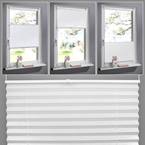 SHINY HOME® Jalousien Plissee mit Gardinenstange Klemmträger Vorhang Single Elegant Sonnenschutzrollo für Fenster Tür ohne Bohren Fensterrollo Gardinen Weiß 90x130cm