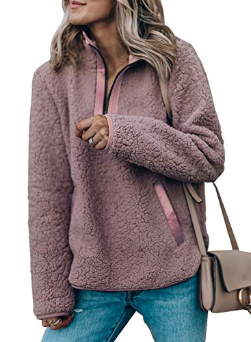 Eytino Women Long Sleeve Zipper Sweatshirt Fluffy Fleece Pullover Outwear Coat,X-Large Pink