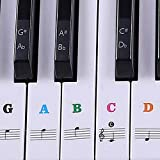 Piano Stickers for Keys -88/61/54/49/37 Keyboards Colorful Piano Keyboard Stickers Removable for Kids/Beginner Learning Piano(2 Pack)