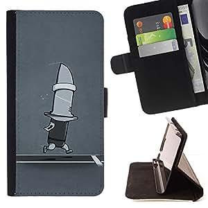 For Sony Xperia Z1 L39 Case , Divertido Correr cuchillo tiburón- la tarjeta de Crédito Slots PU Funda de cuero Monedero caso cubierta de piel