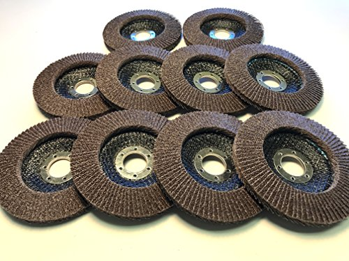 Flap Disc Wheels 40 grit 10 Pack Type 29/4.5''x7/8'' Premium by K&M SPECIALTY WELDING TOOLS