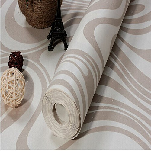 10M Modern Luxury Abstract Curve 3d Wallpaper Roll Mural Paper Parede Flocking for Striped Cream&white Color 0.7m*8.4m=5.88SQM by DAIWEI (Image #2)