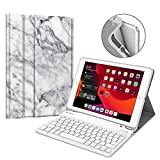 Fintie Keyboard Case for New iPad 7th Generation 10.2 Inch 2019 - Soft TPU Back Stand Cover w Built-in Pencil Holder - Magnetically Detachable Wireless Bluetooth Keyboard for iPad 10.2