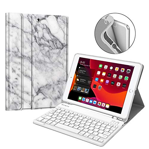 Fintie Keyboard Case for New iPad 7th Generation 10.2 Inch 2019, Soft TPU Back Stand Cover w/Built-in Pencil Holder, Magnetically Detachable Wireless Bluetooth Keyboard for iPad 10.2