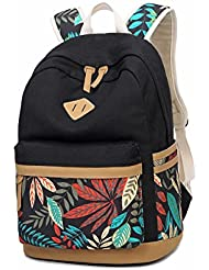 LuckyZ Women Girls Backpack Lightweight Canvas Leather Daykpack Laptop School Bag Cute Printng Travel Shoulder...