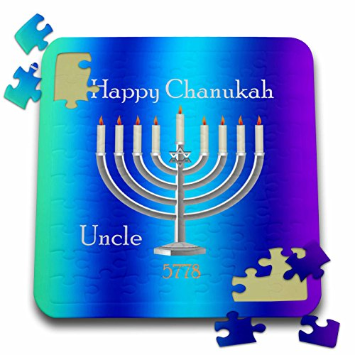 Chanukah for Special People - Image of Happy Chanukah Uncle With Silver Menorah On Gradient - 10x10 Inch Puzzle (pzl_262579_2) (Menorah People)