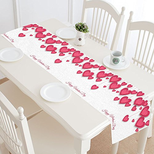 INTERESTPRINT Valentine's Day Table Runner Home Decor 14 X 72 Inch, Love Heart Table Cloth Runner for Wedding Party Banquet Decoration