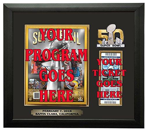 Framed Ticket Holder - Super Bowl 50 Program & Ticket Holder Frame - Black Frame