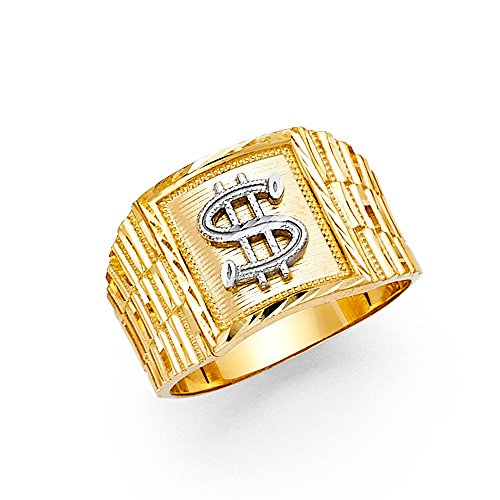 Solid 14k Yellow Gold Dollar Sign Ring Square Money Symbol Band Polished Genuine Men 14MM Size (14k Gold Dollar Sign)