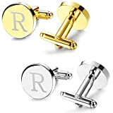 JOERICA 2 Pairs Mens Cufflinks Initial Engraved Cufflink Shirt Business Weeding 26 Letters R
