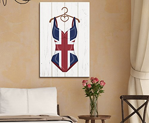 Women Swimming Suit with UK Flag Pattern on Vintage Wooden Background