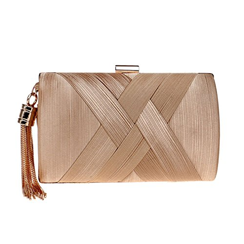 SODIAL Tassel Fashion Ladies Clutch Bag Shoulder Handbags Female Party Wedding Evening Bag For Phone Purse Gold Gold