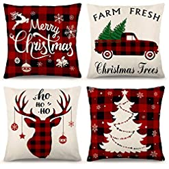 Christmas Farmhouse Home Decor YGEOMER Christmas Pillow Covers 18×18 Inch Set of 4 Farmhouse Black and Red Buffalo Plaid Pillow Covers Holiday Rustic… farmhouse christmas pillow covers