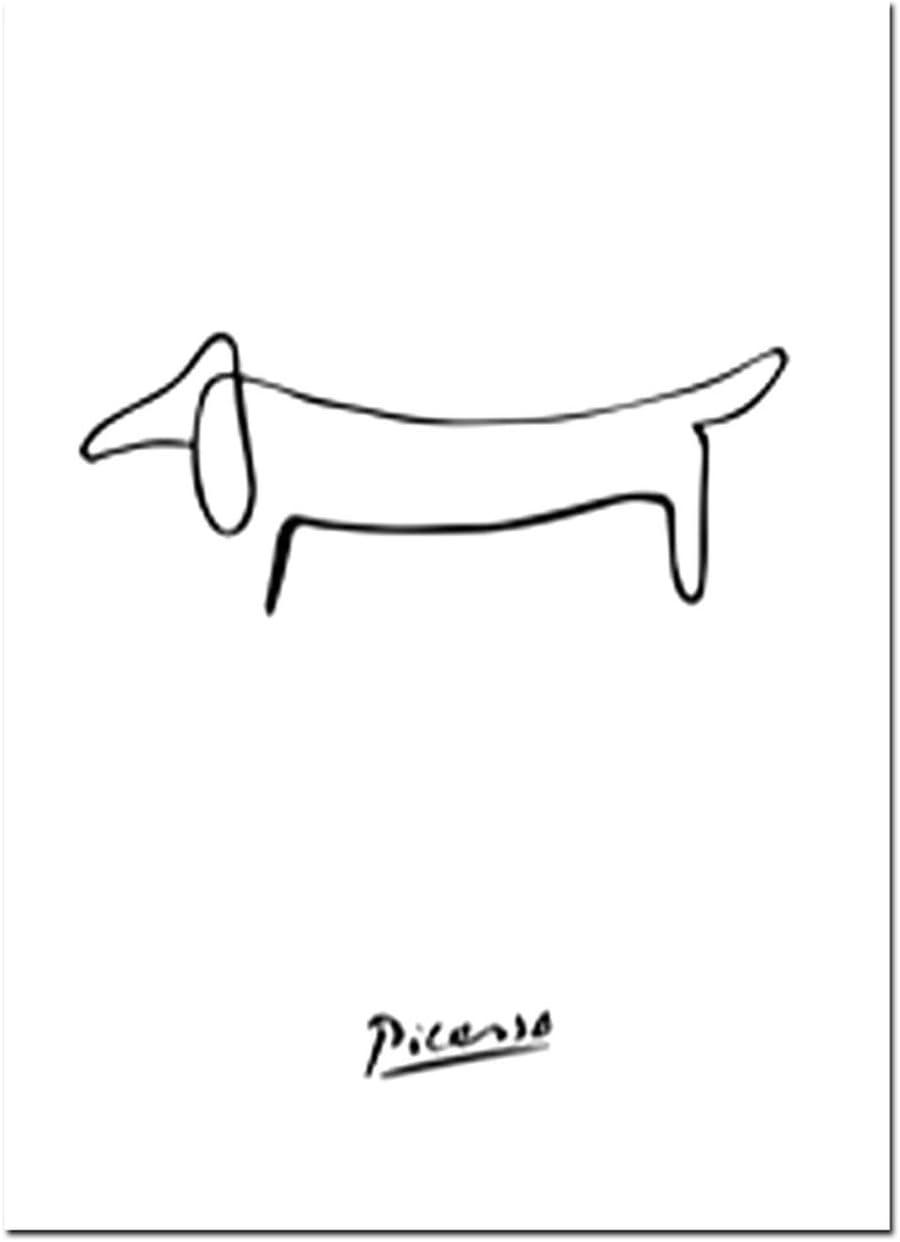 Nórdicos Minimalistas Picasso Animales línea se Imprime el Dibujo del Arte de la Lona Pintura escandinava del Arte del Cartel Cuadro de la Pared Decoración para el Hogar, 15x20cm No Frame, 06