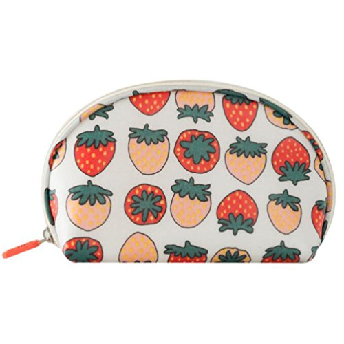 Half Moon Shell Shaped Waterproof Candy Color Floral Cosmetic Makeup Bag Travel Portable Handy Organizer Pouch (Little - Strawberry Sunglasses