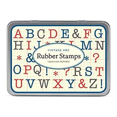 Cavallini Mini Uppercase Alphabet 30 Assorted Wooden Rubber Stamps Packaged in a Tin: Arts, Crafts & Sewing