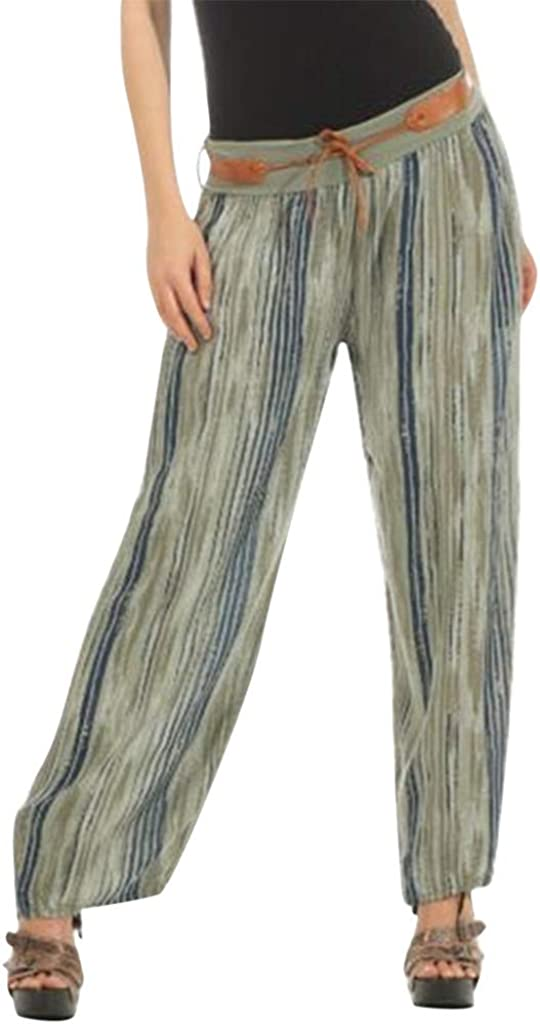 Womens Fashion Swimsuit Cover Up Pant See Through Beach Bikini Bathing Suit Linen Striped Loose Trousers by kaiCran