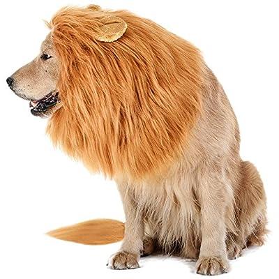 Bassion Dog Lion Mane - Funny Pet Dog Lion Costume with Gift [Lion Tail] - Lion Wig Dog Mane for Medium to Large Sized Dogs