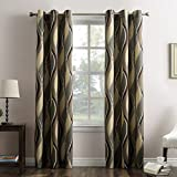"""family room designs No. 918 Intersect Wave Print Casual Textured Curtain Panel, 48"""" x 84"""", Spruce Green"""