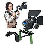 IMORDEN IR-02 Shoulder Support Rig Video Making/Filmaking Dual Handle Kit with 200g Counterweight(2pcs), M1 Matte Box. F1 Follow Focus and Gear Ring Belt for DSLR Video Canon, Sony, Nikon Cameras