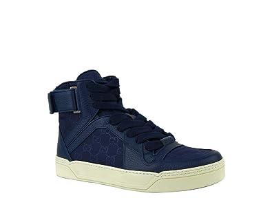 4e7aea660 Gucci Men's Nylon Guccissima High-Top Sneaker, Blue 409766 (9 US / 8.5