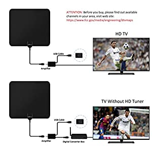 HDTV Antenna - HOMETIFINE Digital Indoor 50 Mile Range Amplified TV Antenna with High Reception Detachable Signal Amplifier and 10FT Coaxial Cable, UL Certificate USB Adapter Included