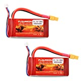 Floureon 2 Packs 3S 11.1V 1500mAh 35C RC Lipo Battery with XT60 Plug for RC Car, Skylark m4-fpv250, Mini Shredder 200, Qav250, Vortex, Drone and FPV (2.91 x 1.46 x 1.08 Inch)