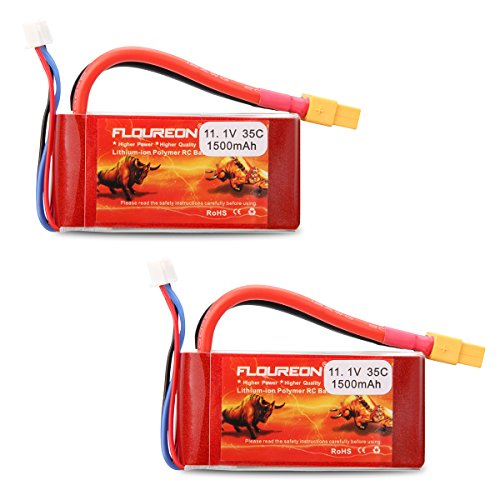 Floureon 2 Packs 3S 11.1V 1500mAh 35C RC Lipo Battery with XT60 Plug for RC Car, Skylark m4-fpv250, Mini Shredder 200, Qav250, Vortex, Drone and FPV (2.91 x 1.46 x 1.08 Inch)