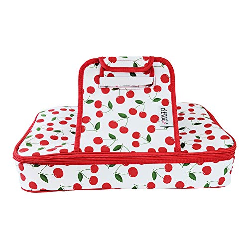 Premium Thermal Insulated Stylish Casserole Carrier to Tote and Keep Best Lasagna Potluck Picnic Holiday Dish & Recipes Hot or Cold for Hours by Domestic Diva LA (Cherry) - Cherry Pattern Glass