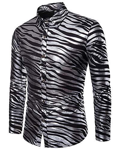 Zebra Mengmiao Camicie Stampa Lunghe Maglietta Maniche Nero Uomo EqqxaS6