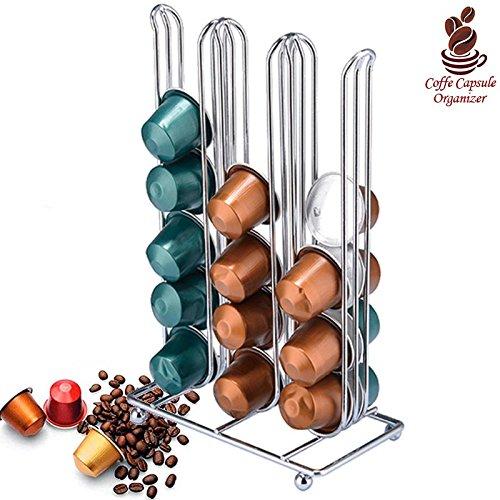 Bakaji Stand Porta Capsule Caffè 36 Posti Fisso Inserimento Verticale Nespresso In Metallo Silver