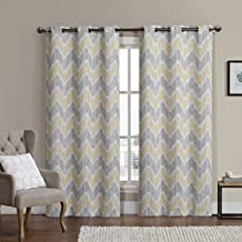 Marlie Yellow and Taupe Top Grommet Jacquard Woven Blackout Window Curtain Panels, Pair / Set of 2 Panels, 38x96 inches Each, by Royal Hotel