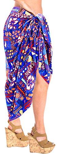 vestido de la playa de baño envoltura pareo traje de baño traje de baño de la piscina pareo complejo de la falda del bikini encubrir Azul
