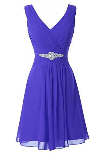 Manfei Women's V-Neck Chiffon Short Bridesmaid Dress Party Dress